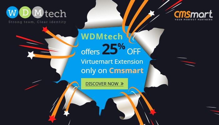 WDMtech offers 25% OFF Virtuemart Extension only on Cmsmart