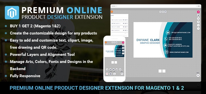 Powerful Magento online design extension for M1 & M2 for Web to print (part 1)