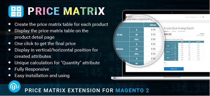 Magento 2 price matrix extension