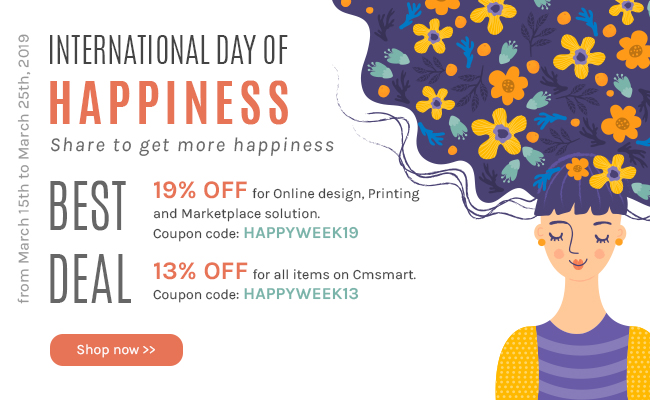 International day of happiness with many special offers from Cmsmart