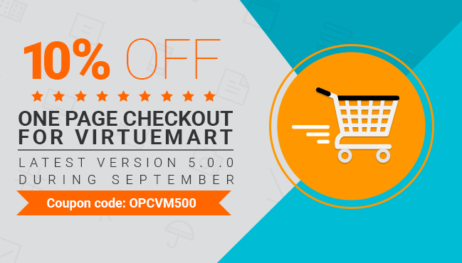 10% OFF for ONE PAGE CHECKOUT for Virtuemart during September 2015