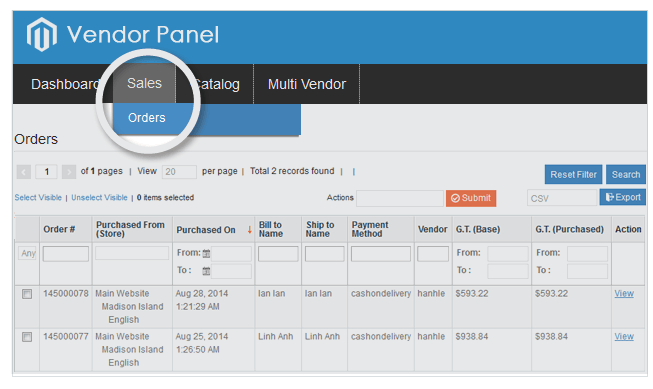 vendor can view order and status