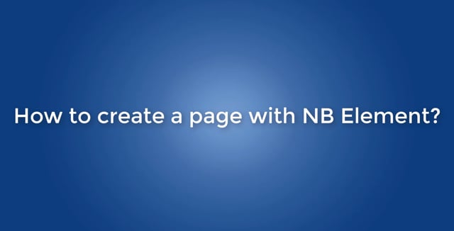How to create a page with NB element?