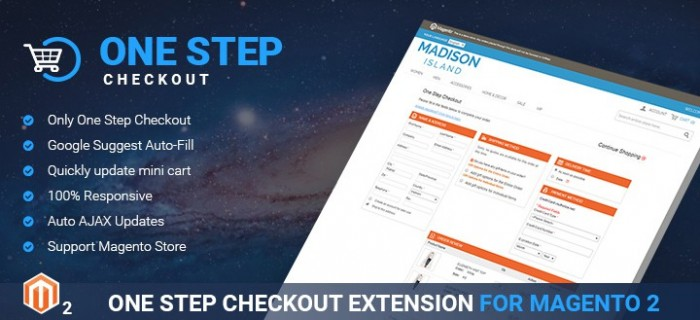 Magento marketplace theme highlighted feature: One step checkout