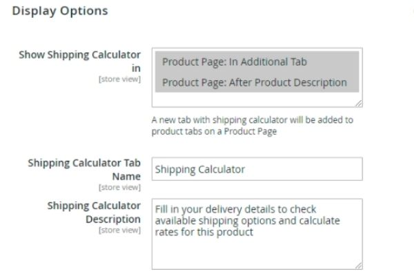 Two display options at the product page and tab