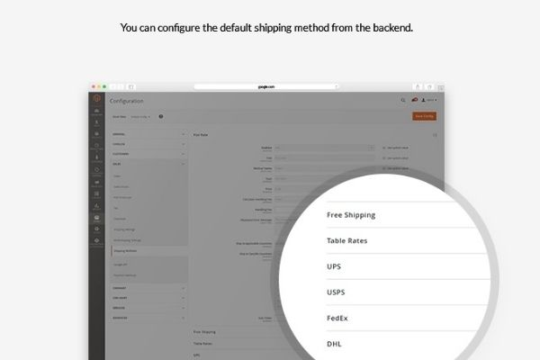 Default shipping method Configuration in Magento