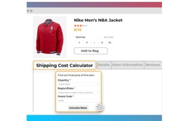 CALCULATE SHIPPING COST ON THE PRODUCT PAGE