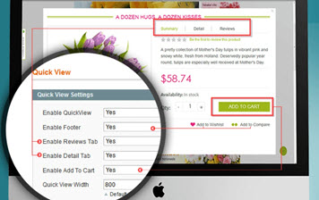 Configure content from quick view pop-up