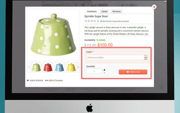 Quickly add products to the cart from a pop-up