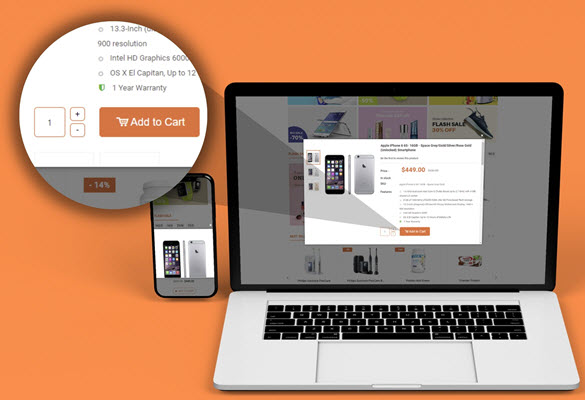 Add product to cart right in Magento popup
