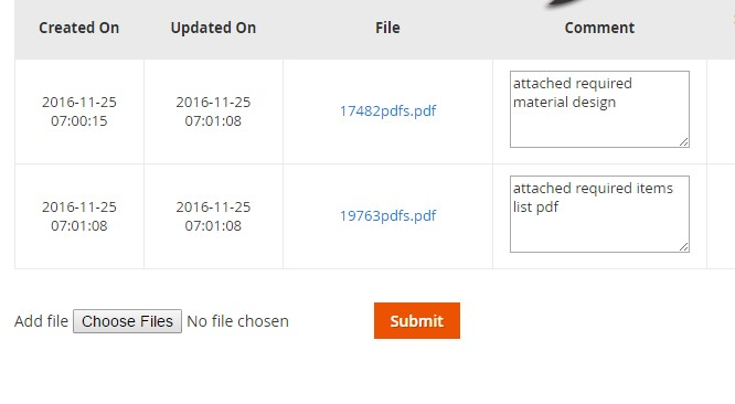 The files/attachements can be added from various sections