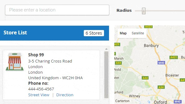 SEARCH THE CLOSE PHYSICAL STORES WITH DIFFERENT CRITERIA
