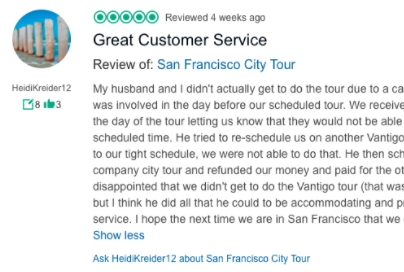 Traveler Rating & Review