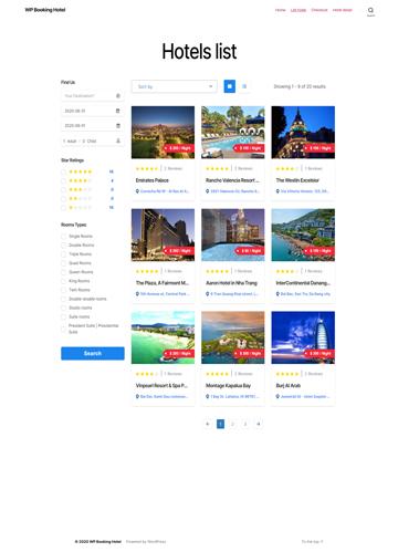 Hotel list grid