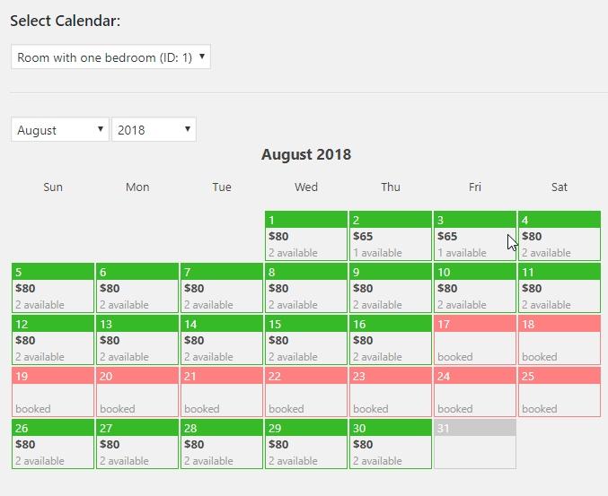 Hotel Booking Calendar Availability