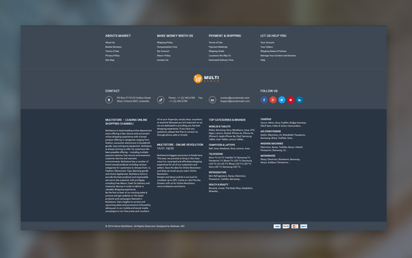 STORE FOOTER WITH FULL INFORMATION