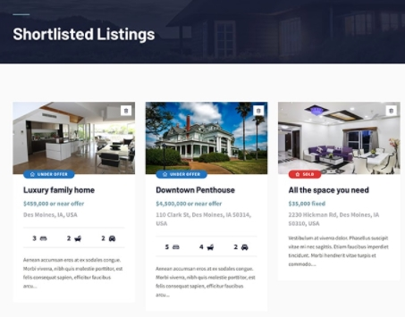 Option to Shortlist Property