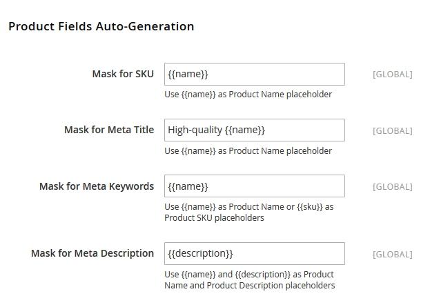Magento Product SEO templates