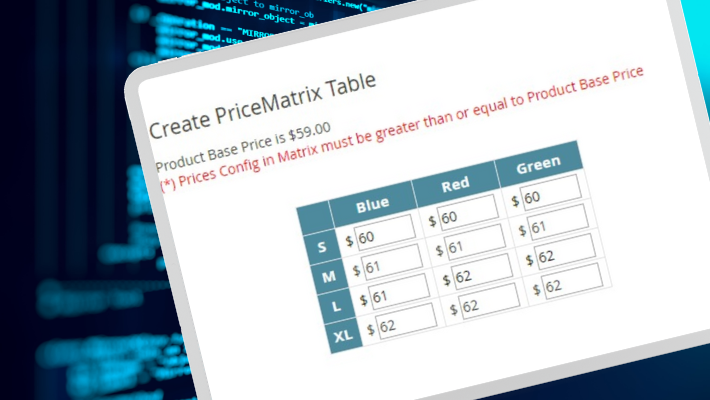 PREVIEW PRICE MATRIX TABLE IN BACK-END