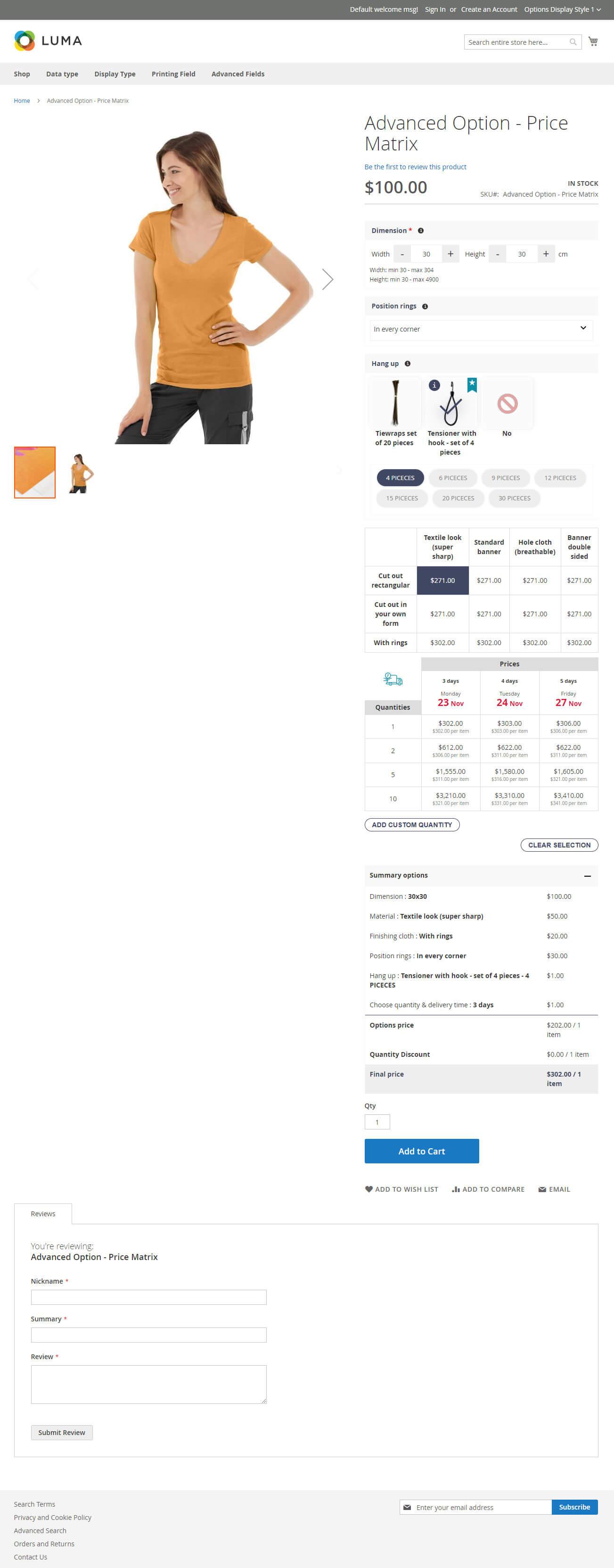 Advanced Option-Price Matrix