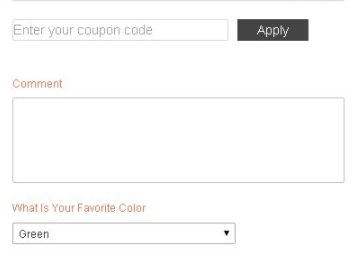 Discount Codes and Comment text box
