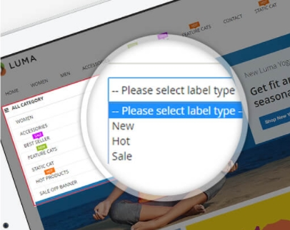 Add Magento Category labels